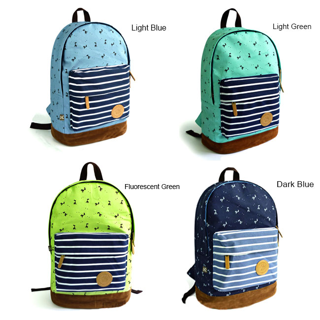 fashion sweet Fresh Deer Strip Print Canvas Backpack