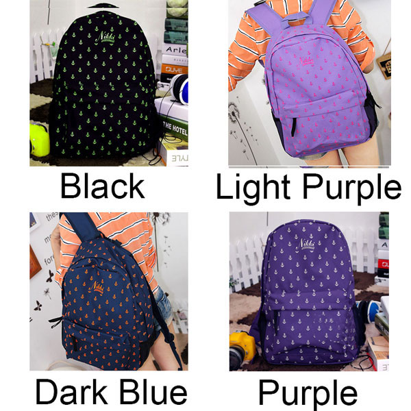 fashion Navy Style Anchor Print Backpack