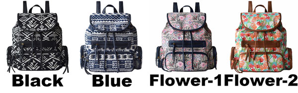 Folk Unique Designed Geometric Totem Colorful Flowers School Bag Draw String Canvas PU Flap Backpack