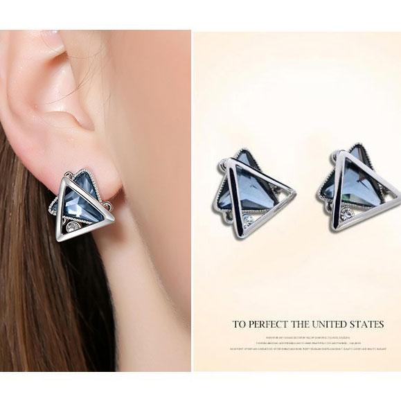 Fashion Triangular Double-layer Crystal Diamond Silver Hollow Women Earring Studs Ear Clip