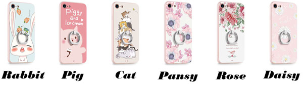 Cute Animals Rabbit Cat Pig Fresh Flowers Iphone 7/7 plus/8/8 plus Cartoon IPhone Cases