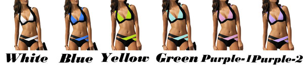 Sexy Women's Summer Swimsuit Contrast Color Crossover Strap Halter Bikini
