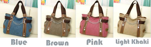 Retro Double Zipper Chain Decorative Splicing Shoulder Bag Leisure Large Capacity Canvas Handbag