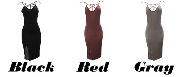 Sexy Women's Whole Color Chest Hollowed-out Side Slit Bandage Dress Skintight Dress