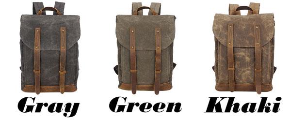 Vintage School Waterproof Canvas Splicing Leather Belt Flap Retro Travel Backpack