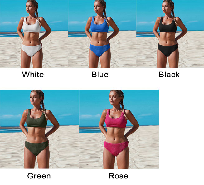 Sexy Pure Color Simple Bikini Folds Summer Swimsuit