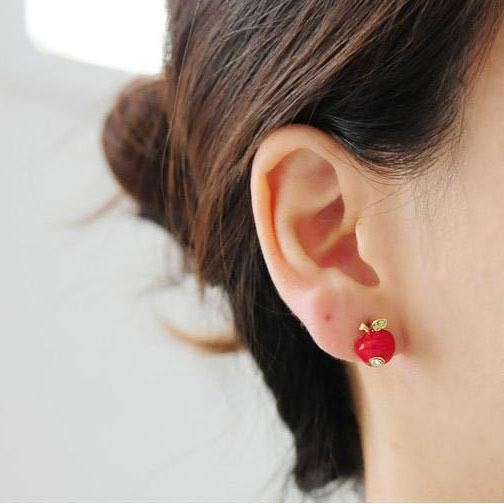fashion Cute Asymmetry Rhinestone Apple Earrings