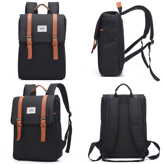 Simple Square Frosted Splicing Bag Belt Metal Lock Flap School Backpack