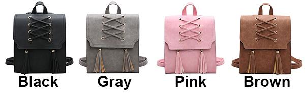 Retro Girl's Cross Bandage Tassels Flap Square Brown Weave Leisure Travel Backpack