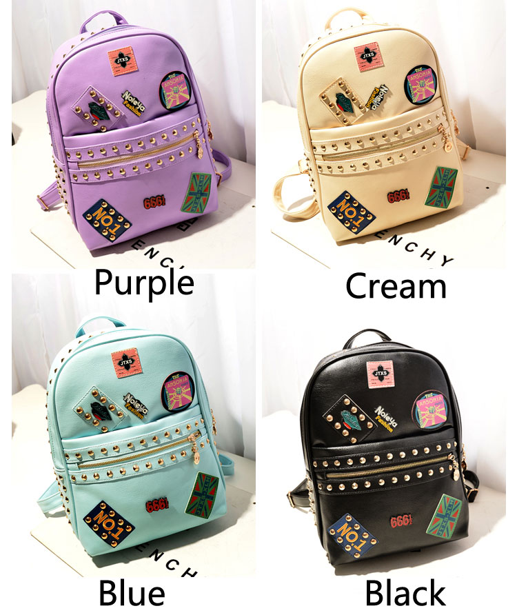 Punk Cute Rivets Badge School Backpack | Fashion Backpacks ...