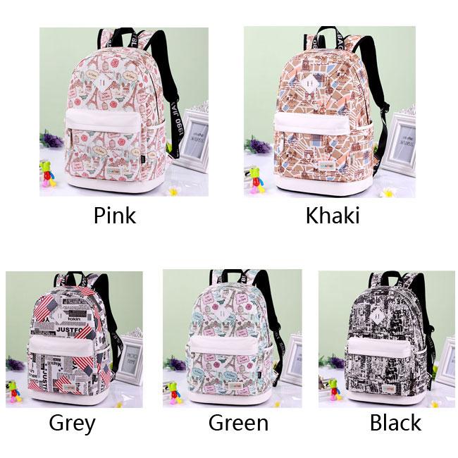 Sweet Cartoon Eiffel Tower School Rucksack Cute Canvas Travel Bag School Backpack