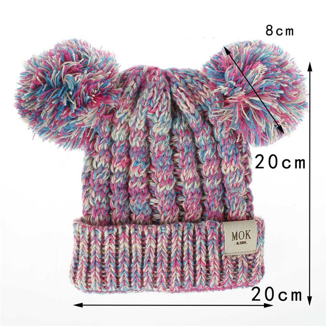 Cute Twisted Double Wool Ball Cap Soft Knit Winter Child Hat