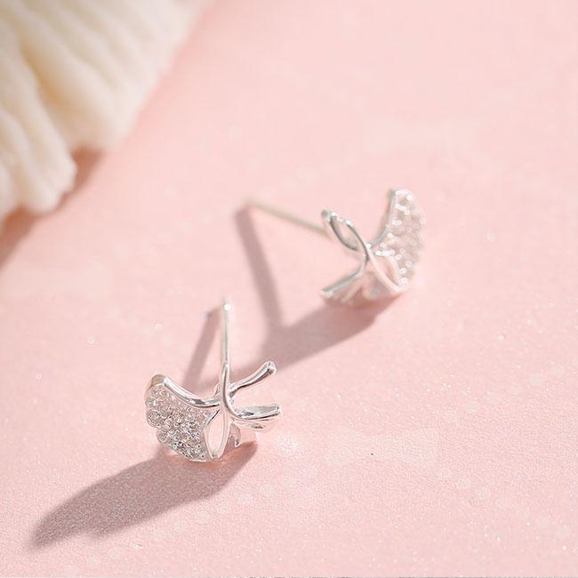 Cute Lotus Leaf Fresh Simple Silver Earring Studs