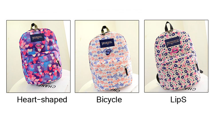 Lovely Heart-shaped Lips Bicycle printed Backpack