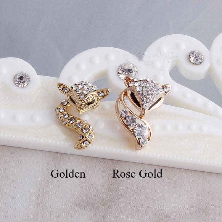 New Lovley Golden Fox Rhinestones Earrings