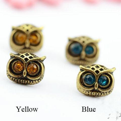 Fashion Cute Western Retro Copper Silvery Bardian Owl Ear Studs