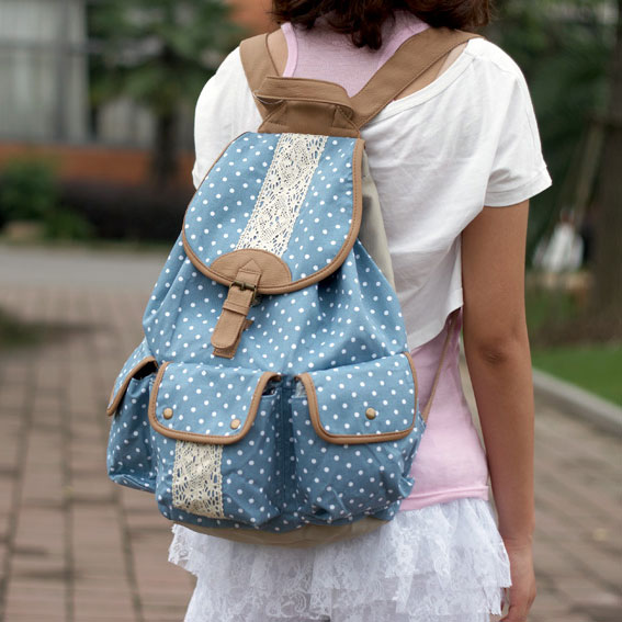 Fresh Polka Dot Canvas Backpacks