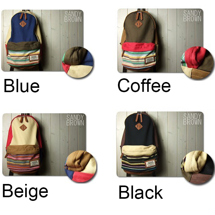 cute Folk Style Mixing Color Stripe Print Canvas Backpack