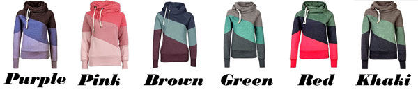 Women's Contrast Color Stitching Hoodie Pullover Sweater Cashmere Wool Sports Overcoat