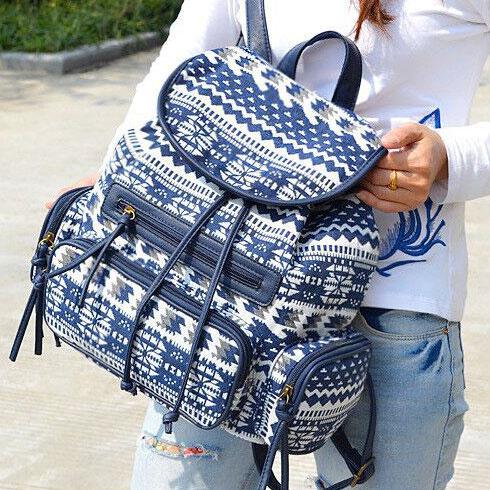 Folk Unique Designed Geometric Totem Colorful Flowers School Bag Draw String Canvas PU Flap Backpack