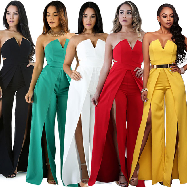 Sexy Boat Neck V-neck Front Slit Loose Pants Women's Long Jumpsuit Dress