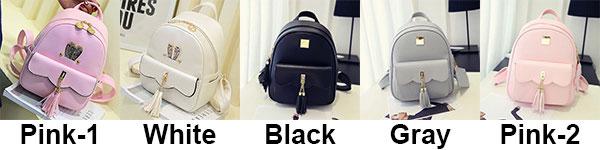 Fashion PU Girls Tassels Rabbit Ear Backpack Leisure Lotus Leaf School Backpack