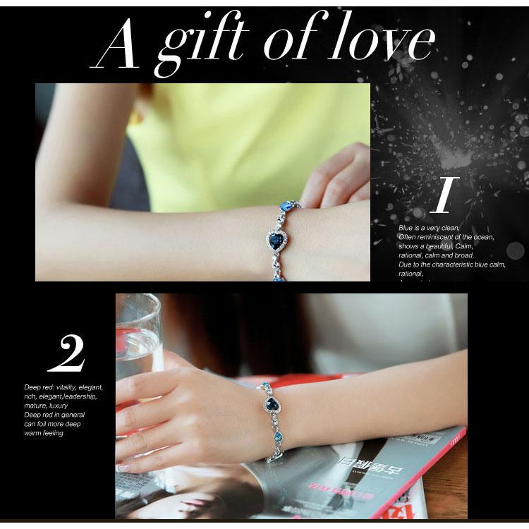 Romantic Loving Heart Crystal Bracelet