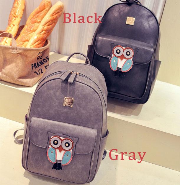 Cute Owl Black Cartoon Rucksack PU Schoolbag Simple Solid Animal Backpack