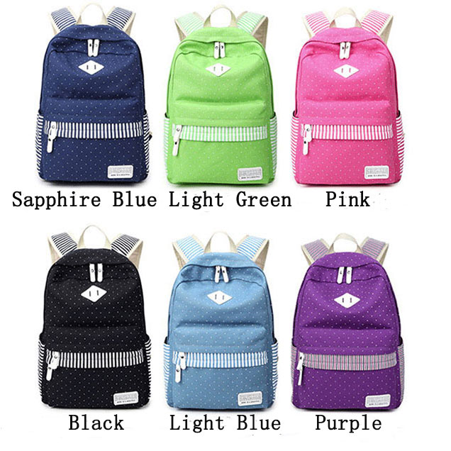 Leisure Travel Outdoor Sports Women Backpack Polka Dot Stripe College Canvas Backpack