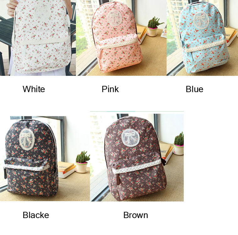 Pastoral Lace Floral College Backpack school bag