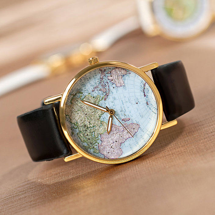 Retro World Map Watch