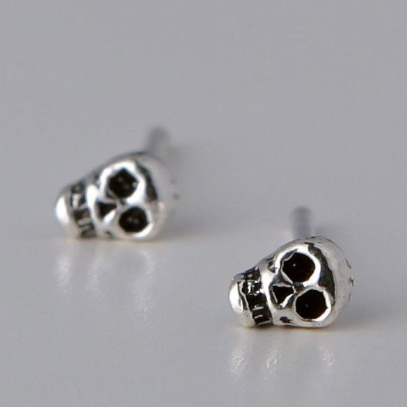 Personality Punk Style Skull Silver Stud Earrings