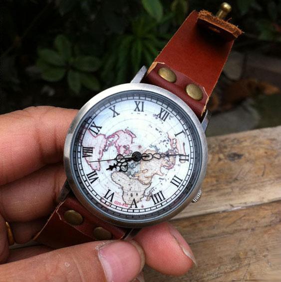Handmade retro world map leather watch retro watches watches handmade retro world map leather watch sciox Choice Image