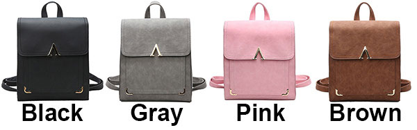 Retro Frosted PU Flap Square School Backpack V Shaped Leisure College Backpack