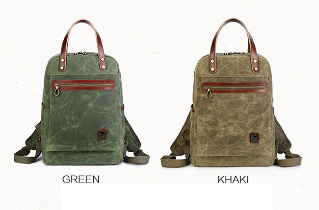 Retro Oil Wax Waterproof Canvas Rucksack Multi-function Handbag Men's Outdoor Travel Backpack