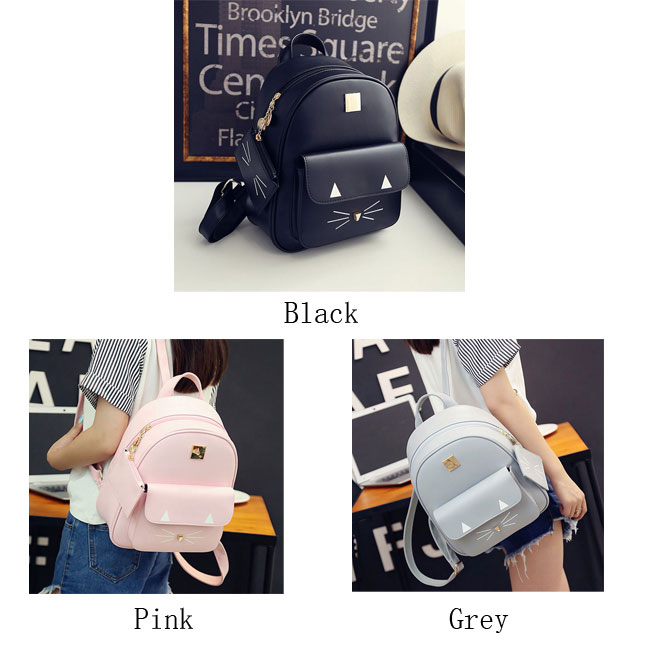 Cute Kitten Solid Rucksack Leisure Cartoon Cat Schoolbag Student Backpack