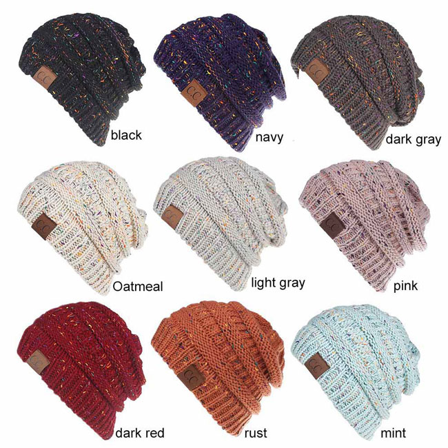Fashion Ponytail Outside Hairbands Mixed Color Warm Winter Women Hat