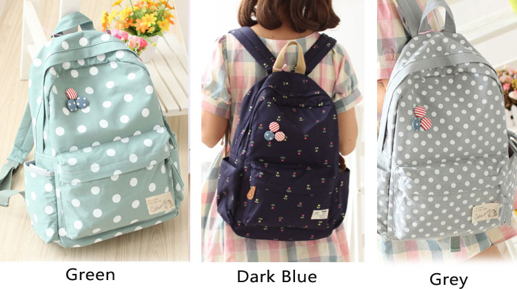 Latest Dot Canvas Backpack & Book Bag