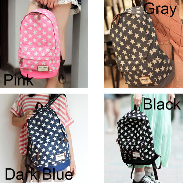 fashion Cute Star Print Denim Backpacks