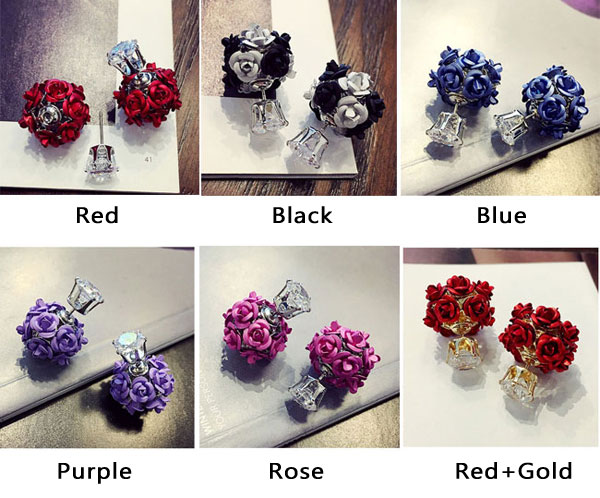 Fashion Flower Bouquet Ball Round Crystal Earrings Stud