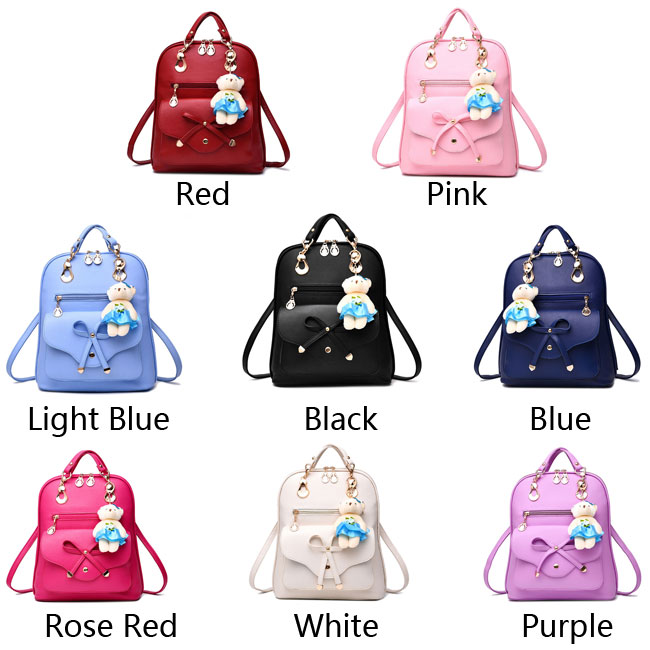New Multifunction Pu Bow School Rucksack Casual Bow-knot Shoulder Bag College Backpack