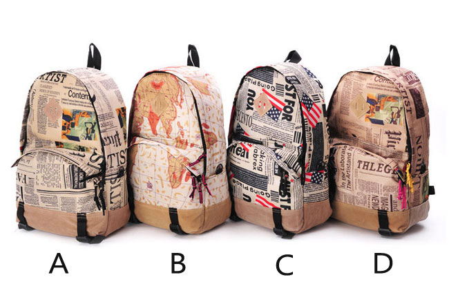 World Map & Cheapspapers Pattern Canvas Backpack