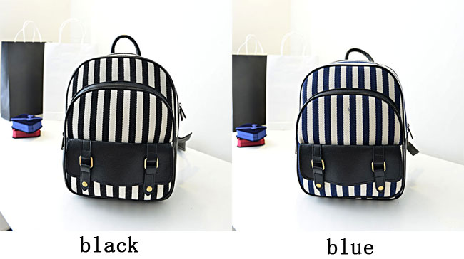 fashion Fresh Navy Stripe Canvas Backpack