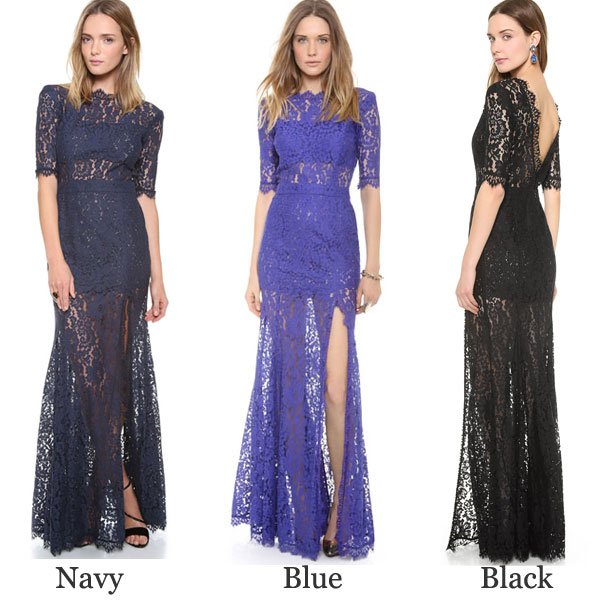 Floral Lace Tassels Deep V Back High Slit See-Through Party Dress
