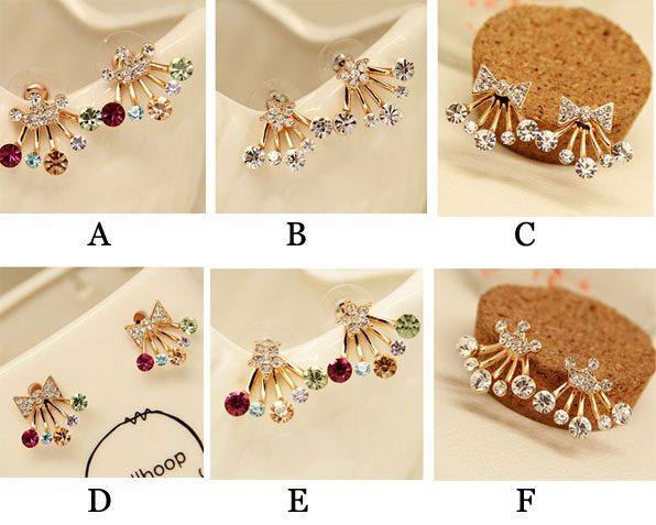Graceful Crown Bowknot Star Rhinestones Silver Earring