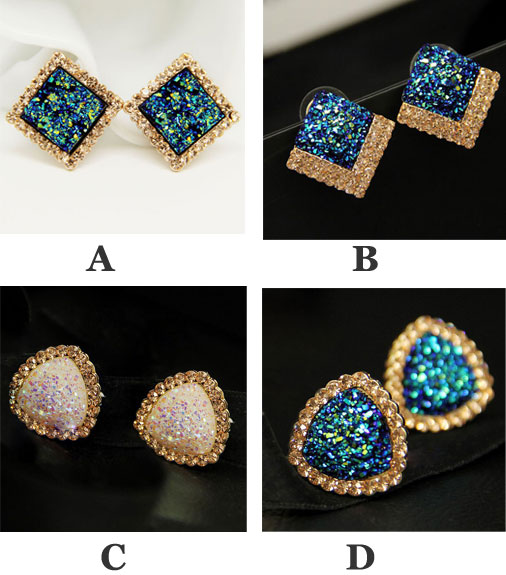 OL Diamond Shell Square/Triangle Stud Earrings