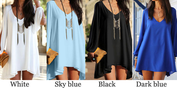 Loose Deep V Slit Long Sleeve Irregular Cut Chiffon Dress