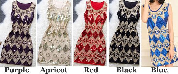 Charm Embroidery Diamond Pattern Flashy Dress