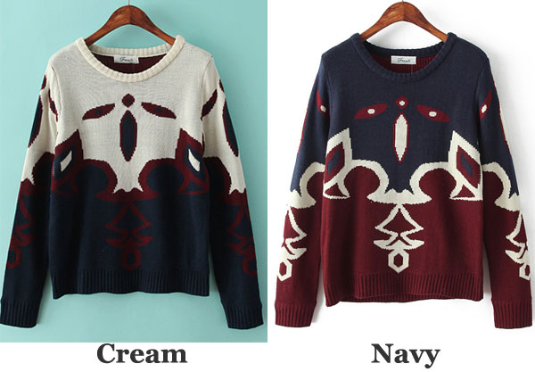 Casual Indian Ethnic Print Knitted Woman Sweater