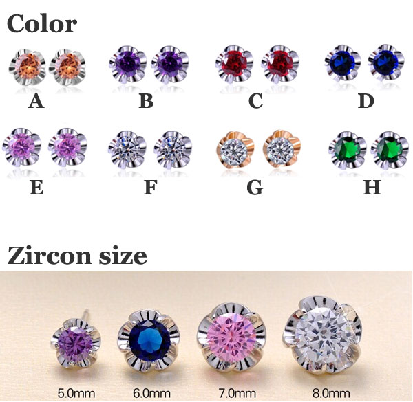 Gold Plated Zircon Stud Earrings/Gift Earrings
